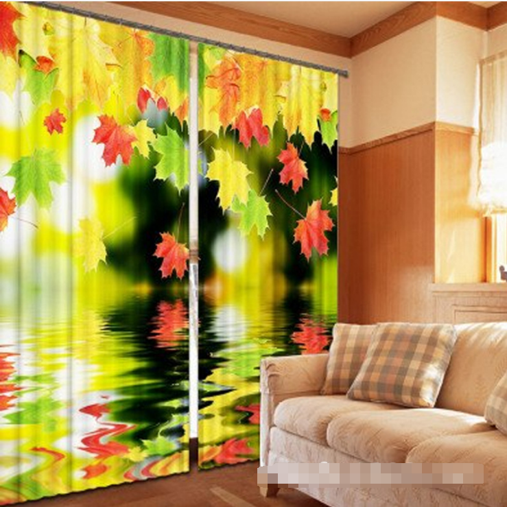 Purple And Blue Leaves 3D Curtain Blockout Photo Printing Curtains Drape Fabric