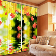 3D Leaves Lake0241 Blockout Photo Curtain Print Curtains Drapes Fabric Window UK - $145.49+