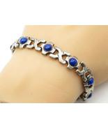 MEXICO 925 Silver - Vintage Cabochon Cut Lapis Lazuli Chain Bracelet - B... - $113.42