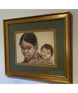 """@20"""" x @24"""" Woman with Child Native American Southwest MOUGAR Art Frame ... - $985.05"""