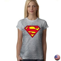 SUPERMAN JUSTICE LEAGUE CLASSIC LOGO SUPERHERO WOMEN JUNIOR FIT GRAY T-S... - $15.99