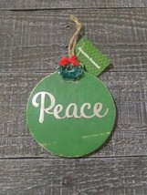 Vintage Style Wooden Christmas Tree Peace Ornament New. - $14.58