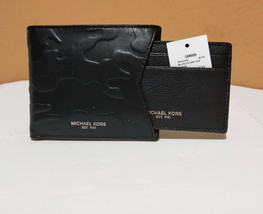 Michael Kors Camden Leather Billford & Card Case Men's Textured Wallet black NWT - $69.29