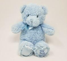 """10 """" GUND Mon Premier Nounours Bébé Bleu Ours #021033 Peluche Animal Jouet Satin - $18.59"""