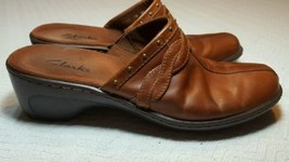Clarks mules 7 braided brown leather studed - $28.04