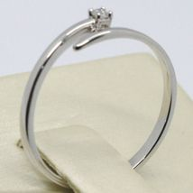 White Gold Ring 750 18k,Solitaire, Snake, Rail with Diamond Carat 0.03 image 3