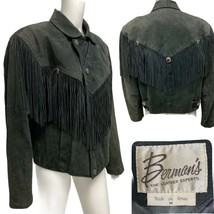 VTG Berman's Leather Expert Suede Biker Fringe Genuine Leather Jacket Bl... - $55.34