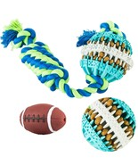 Puppy Chew Toys - Rubber Dog Tug & Teething Toy + Football Squeak Toys G... - $19.85
