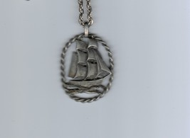 Necklace Tall Ship Sailing Boat Pendant Silver Pewter Tone Vintage 18 in... - $24.70