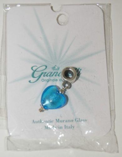 Granchelli Originale di Firenze Authentic Murano Glass Blue Heart Slider Charm