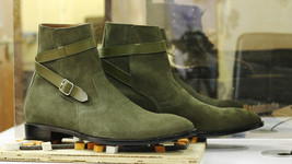 Handmade Men Green Suede High Ankle Monk Strap Boots image 5