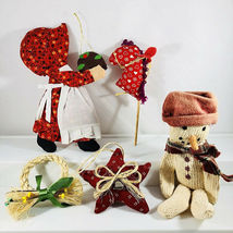 Lot of 5 Country Primitive Fabric Christmas Ornaments Wreath Star Snowma... - $13.86