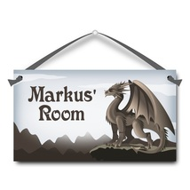 "Winged Dragon, Kids Door Sign, 5.5"" x 10.5"", Personalized Name Plaque - $13.00"