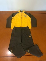 NWT Boys Kids Adidas Yellow & Army Green Jump Suit Jacket & Pants Size Large 6 - $49.49