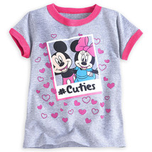 "Disney Store Mickey and Minnie Mouse ""#Cuties"" Gray Tee T-Shirt for Girls - $12.00"