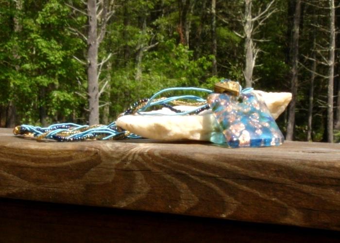 Mermaids Magic, Blue Glass Rectangle Pendant Necklace w Gold Foil, Crystal Bail