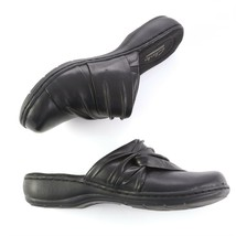 Clarks Collection Black Leather Mules Slip On Comfort Casual Shoes Womens 7 EUC - $29.60