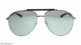 Gucci Mens Aviator Sunglasses GG0014S 001 Ruthenium Black/Silver Lens 60mm  - $202.73