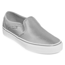 Vans Asher (Textile) Silver White Gray Womens Casual Slip On Sneakers - $49.95