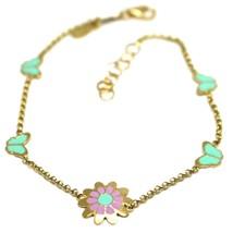 """18K YELLOW GOLD GIRL BRACELET ENAMEL PURPLE GREEN FLOWER DAISY, BUTTERFLY, 6.3"""" image 1"""