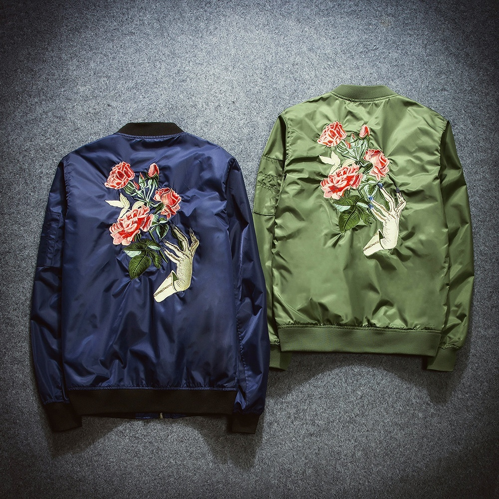 2018 New Mens Fashion Flight Bomber Jackets Male Back Embroidery Florales Outerw
