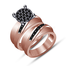 Rose Gold Plated Real 925 Silver Round Cut Diamond Bridal Engagement Rin... - $83.99