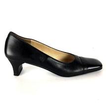 Salvatore Ferragamo Pump Heels 6.5 3A AAA Black Leather Square Cap Toe I... - $35.99