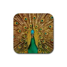 Beautiful Colourful Peacock Snowflake Bird With Tail (Square) Rubber Coa... - $2.99