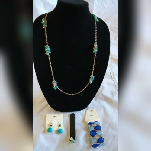 Primary image for Fashion JewelryEarrings Turquoise Silver Necklace Bracelet Ring Set Holiday Gift