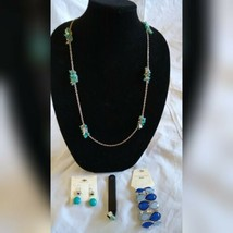 Fashion JewelryEarrings Turquoise Silver Necklace Bracelet Ring Set Holiday Gift - $35.06