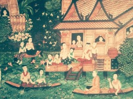 Retro Thai Culture Art Painting Picture Handcraft Wall Home Decor Paper ... - $11.85