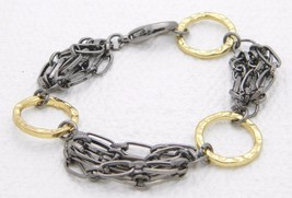 "VTG Stainless Steel Gold Tone Geometric Abstract Chain Link Bracelet 7"" - $29.70"
