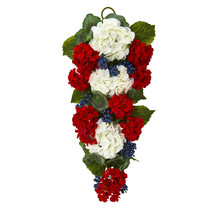"Nearly Natural 26"" Geranium and Blue Berry Artificial Teardrop Realistic Decor - $60.06"