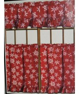 "3 pc Curtains Set: 2 Tiers & Valance (58"" x 14"") CHRISTMAS, SNOWFLAKES O... - $17.81"