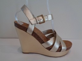 Sam Edelman Size 6 M NELSON Jute Gold Leather Wedge Sandals New Womens Shoes - $98.01