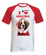 I Love Christmas Saint Bernard Santa - COTTON BASEBALL TSHIRT ALL SIZES - $19.76
