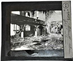 RARE: World War I glass photo: Bomb damage to building in Metzerall, France - $31.68