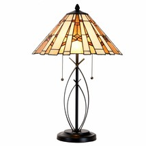 Cloud Mountain Tiffany Style Table Lamp Modern Base Stained Glass Home D... - $99.99