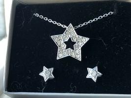 "Avon STAR SPARKLE GIFT SET 18"" Necklace Pendant Earrings Silvertone NOS ... - $9.85"