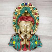 Buddha Namasete Mask with Gemstone work Wall hanging Art Sculpture Relig... - $245.30