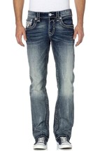 NEW ROCK REVIVAL MEN'S LON J400 PREMIUM STRAIGHT CUT JEANS DENIM PR1537J4
