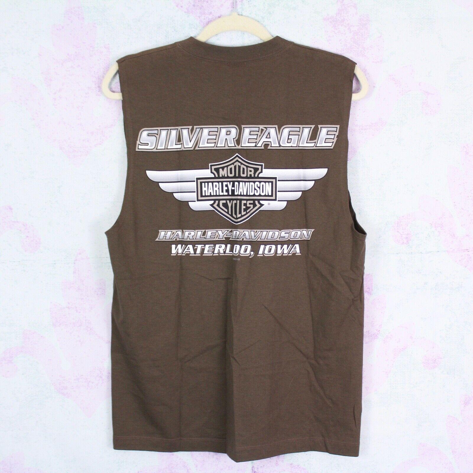 Harley Davidson Men's Medium M Waterloo, IA Graphic Tee Muscle T-Shirt Tank Top image 2