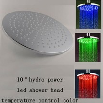 "10"" Round Temperature Sensor Changing Color LED Showerhead, Polished Chrome - $178.15"