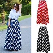 Women Polka Dot Print Casual Party Vintage Rockabilly High Waist Skirt Long Maxi