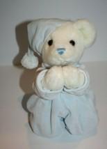 "Aurora Baby TEDDY BEAR 10"" Blue PJ White Plush Kneeling PRAYER Now I Lay... - $23.20"