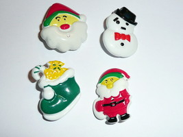 "Santa Snowman Christmas Stocking  Realistic Shank Buttons 1-1/4""(4 diff)... - $4.45"