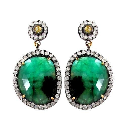 Primary image for Emerald Gemstone 925 Sterling Silver Pave 2.0ct Diamond 14k Gold Dangle Earrings