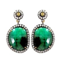 Emerald Gemstone 925 Sterling Silver Pave 2.0ct Diamond 14k Gold Dangle ... - $728.28