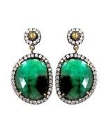 Emerald Gemstone 925 Sterling Silver Pave 2.0ct Diamond 14k Gold Dangle ... - $728.28
