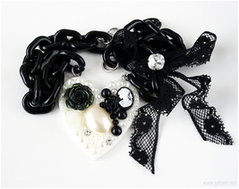 Decoden Resin Heart Necklace, Black and White, Gothic Jewelry, Harajuku Fashion - $29.00
